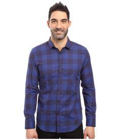 Calvin Klein Long Sleeve Buffalo Check Button Down Shirt In Blue Rush Button Down Shirt Mens, Button Up Shirts, Check Shirt Man, Plaid Design, Calvin Klein Men, Nice Tops, Men Casual, Long Sleeve, Mens Tops