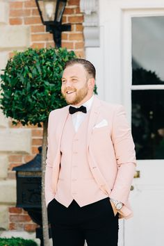 Pink Suit Jacket and Waistcoat for Groom | By Liza Edgington Photography | Black Tie Wedding | Pink Wedding Suit | Black Bridesmaid Dresses | Pink Wedding Flowers | Pink Suit | Classic Wedding | Groom | Groom Wedding Suit | Groom Wedding Outfit | Three Piece Wedding Suit