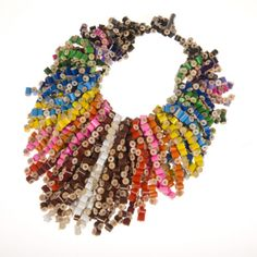 Artist Margherita Marchioni fashions pieces of colored pencils into amazing-looking necklaces. #repurposed #jewelry