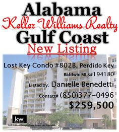 Lost Key Condo Unit#802B, Perdido Key, FL... Baldwin MLS#194180... $259,500...Walk in & be WOWed by the views from this 3 Bedroom with 2 Bath 8th floor Condo. High ceilings, Great Kitchen w/ Stainless Appl & Granite Breakfast bar. Private screened in balcony w/ beautiful views. Gated community on Perdido Key w/ Golf Course & Clubhouse (restaurant too), pools, tennis, fitness & much more offering a great coastal lifestyle. Contact Danielle Benedetti at 850-377-0496 for more information.