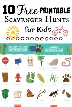 10 free printable scavenger hunt games for kids - these are fantastic! I love the large images for kids with processing disorders and for children who can't read yet. Everything from beach, neighborho Toddler Scavenger Hunt, Preschool Scavenger Hunt, Outdoor Scavenger Hunts, Nature Scavenger Hunts, Scavenger Hunt For Kids, Beach Scavenger Hunts, Bingo, Worksheets For Kids, Preschool Activities