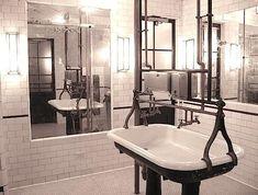 Restaurant Visit: Schiller's Liquor Bar in New York Restaurant Design, Restaurant Bar, Apothecary Bathroom, Café Bistro, Restaurant Bathroom, Liquor Bar, Trough Sink, Public Bathrooms, Bathroom Interior