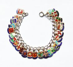 Vintage Sterling Silver English City Traveller Charm Bracelet with 26 Silver Shield Flags Guilloche 42g cities around England and the U.K