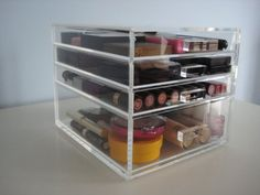 ACRYLIC MAKEUP COSMETICS ORGANIZER 4 DRAWER BEAUTY CUBE STORAGE CASE (Acrylic Knobs (Handles)) by Beauty Cube. $99.95. The Beauty Cube's clear and sleek design allows you to find your makeup quickly and easily. Handmade with AA grade new acrylic/Lucite (makeup not included). Available in you choice of acrylic knobs, or crystal knobs (please select from above). It takes up limited space on a vanity and is perfect for storing your makeup, makeup tools, hair accessories and...