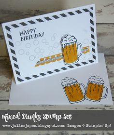 Julie Kettlewell - Stampin Up UK Independent Demonstrator - Order products 24/7… Masculine Birthday Cards, Birthday Cards For Men, Handmade Birthday Cards, Masculine Cards, Guy Birthday, Slider Cards, Hand Made Greeting Cards, Mixed Drinks, Stamping Up Cards