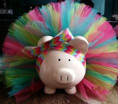 Pink Teal and Lime Green Tutu Piggy Bank with Jewels by TuTuCutee, $35.00