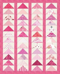 Pretty in Pink - a lovely wee dolls quilt made from 48 flying geese blocks. Tips for making the flying geese with only one seam each! This can be made in a day - you'll be loved forever and so will the quilt!