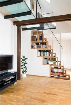 Creative Staircase Include Bookshelves Idea
