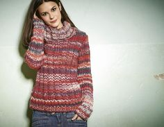 Lana Grossa ROLLKRAGENPULLI MIT ÜBERLANGEN ÄRMELN Lei Color Mix - RAGAZZA No. 6 - Modell 16 | FILATI.cc WebShop