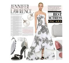 """Jennifer Lawrence Oscar Outfit"" by maranella ❤ liked on Polyvore featuring mode, Samira 13, Roger Vivier, Judith Leiber, NARS Cosmetics, Monique Lhuillier et oscarfashion"