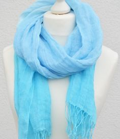 Blue and Turquoise Ombre Scarf Aqua colors