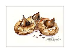 sbwatercolors and sketching: Peanut Butter Blossoms in Watercolor