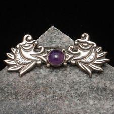 Sterling Silver Amethyst Brooch Pin Taxco Vintage