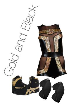 """""""Gold and Black Wrestling outfit!"""" by apriljeanetteajlee ❤ liked on Polyvore featuring Asics, Summer, WWE, Diva and wrestling"""