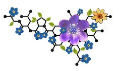 Oxytocin Flower Tattoo with Nodding Bur Marigold, Forget Me Nots, & Round Lobed Hepatica