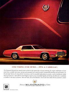 '67 Eldorado ad ☳ https://de.pinterest.com/gmphotogiftscom/gm-ads-and-postcards/