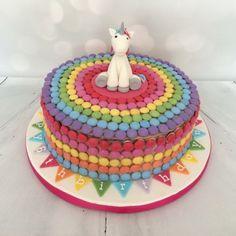 Rainbow Smarties cake featuring a fondant unicorn