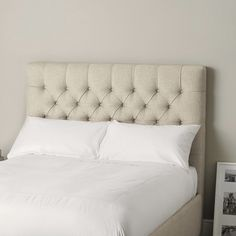 This deep-buttoned headboard gives a truly decadent feel to your bedroom and makes sitting up in bed sheer pleasure. It has also been hand-buttoned. Its perfect simplicity means you can dress it with any style of bed linen to refresh the look of your r Cheap Bedding Sets, Best Bedding Sets, Bedding Sets Online, King Bedding Sets, Bedroom Loft, Master Bedroom, Kids Comforters, Gold Bed, The White Company