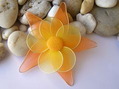 7 Wire Flower Nylon Flower Orange Yellow by 4SeasonCards on Etsy