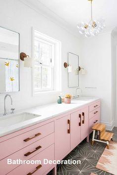 Pink bathroom vanity with double sinks and grey cement tile floor // Cortney Bishop Bad Inspiration, Bathroom Inspiration, Interior Inspiration, Bathroom Interior Design, Decor Interior Design, Eclectic Bathroom, Bathroom Designs, Scandinavian Bathroom, Colorful Bathroom