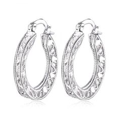 Pair of Vintage Engraved Heart Earrings For Women #jewelry, #women, #men, #hats, #watches, #belts