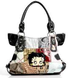 Stunningly Unique Patchwork BETTY BOOP Shoulder Bag Handbag (BLACK or PINK)  Betty Boop dda80555559ef