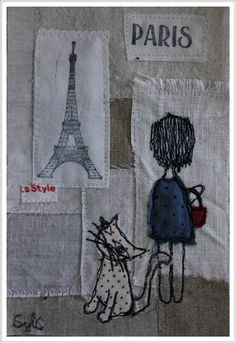 collage textile, un chat à Paris.  www.patchacha.fr