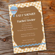 Hot Air Balloon Baby Shower Invitation by iquedesign on Etsy, $15.00