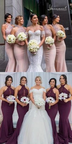 Elegant High Neck Pink Mermaid Bridesmaid Dress Party Dress from modseleystore is part of Bridesmaid dresses Long Bridesmaid Dresses, Pink Bridesmaid Dresses, 2018 Bridesmaid Dresses, Wedding Party - Mermaid Bridesmaid Dresses, Wedding Bridesmaids, Wedding Party Dresses, Dress Party, Party Wedding, Maid Of Honor, Elegant Dresses, Wedding Colors, Models