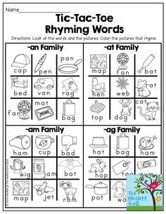 Rhyming Worksheet, Rhyming Activities, Dyslexia Activities, Preschool Phonics, Number Worksheets, Alphabet Worksheets, Word Study, Word Work, Ingles Kids