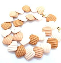 Items similar to Vintage 1985 AVON Necklace Summer Sands Tan Beige Plastic Ribbed Square Beads on Etsy 80s Jewelry, Plastic Jewelry, Plastic Beads, Vintage Jewelry, Vintage Items, Summer Necklace, Summer Jewelry, Avon, Chiffon Dress Long