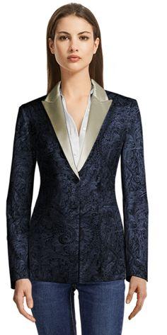 Blue Paisley Blazer with Beige Shiny Lapels Blazers For Women, Suits For Women, Lapels, Tuxedo, Corduroy, Paisley, Velvet, Brand New, Beige