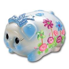 Floral Piggy Bank w/Bow. Pennies add up! Pig Bank, Penny Bank, Cute Piggies, Savings Bank, Money In The Bank, This Little Piggy, Money Box, Vintage Ceramic, Musicals