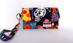 Large Cell Phone Wallet (a Samsung Galaxy Note 2 will fit) by ClaudiaBagDesigns, $26.00 #sugar_skulls #wallet