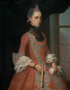 Anónimo novohispano, Retrato de dama no identificada de la familia Sánchez Navarro, óleo sobre tela, 96 x 80 cm., ca. 1760, colección particular, catalogación: Juan Carlos Cancino.