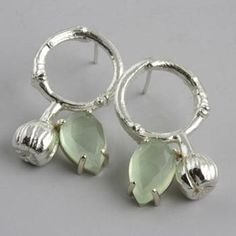 "Sarah Hood: Twig Circle Earrings, Earrings in sterling silver and 14k gold with large faceted prehnites. 1 1/8"" long."