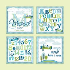 Airplane Art Print Set for Kid's Room, Nursery Airplane Print, Alphabet Print