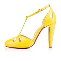 Chunky High Heels, Leather High Heels, Stiletto Heels, Shoes Heels, Pumps, Yellow Shoes, Christian Louboutin Shoes, T Strap, Summer Shoes