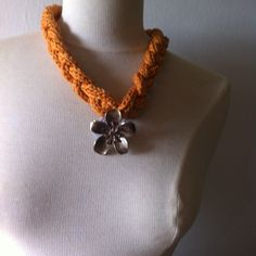 cotton platted necklace with pendant made by Ann Gleeson Knitwear