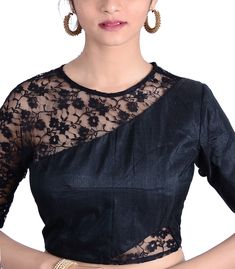 Black Raw Silk Designer Blouse - BL30026 | Indian Silk House Agencies