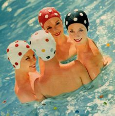 Retro Swimcaps. Vintage Summer