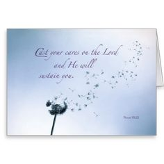 Religious Encouragement and Support, Dandelion Card. The scattering seed beautiful imagery for verse about casting cares on God. For more encouraging cards visit http://www.zazzle.com/christian+encouragement+cards?rf=238308729910790362