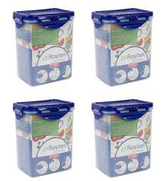 Frischhaltedosen Vorratsdosen transparent mit blauem Deckel 1300 ml 4 Stück – Bild 1