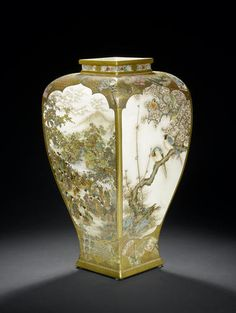 A large impressive Satsuma vase By Ryozan, Meiji Period  The body intricately and finely enamelled and gilt with contrasting figural and kacho-e images enclosed within four lobed panels, one depicting an outdoor leisurely scene of families enjoying the maple leaf viewing season, another of women and children picking plants by a stream, separated by quail among millet and exotic long-tailed birds perched on plum branches; the shoulder and foot with overlapping fans; signed