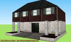 """Edificios de Papel: Maqueta de Papel 1511: Granero 1 - Barn 1 Hemos denominado con el mismo nombre, """"Granero"""", a dos edificios diseñados con texturas de piedra y madera. Ambos tienen grandes puertas y ventanas con contraventanas de madera y tejados de pizarra."""