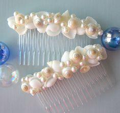 2pc Beach Wedding Seashell Hair Combs - Shell Hair Accessories for the Bride, 2pc