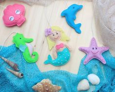 Little mermaid and friends felt set  crib by MiracleInspiration