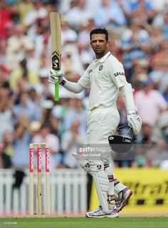 Rahul Dravid of India celebrates his century during day four of the 4th npower Test Match between England and India at The Kia Oval on August 21, 2011 in London, England.