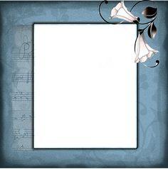 tons gris bleu et motif fleuri pour ce cadre créé par Frannie...