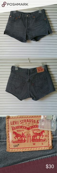 Levi 501 Gray Shorts Great condition Levi's 501 shorts. They're super cute! The only reason I'm selling is because they're not stretchy. Smoke free home. Comment with any questions Levi's Shorts Jean Shorts
